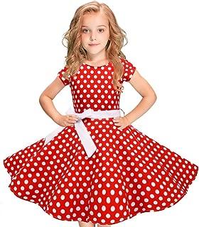 Vintage Polka Dot Swing Girls Dress 1950s Retro Style Cotton Red Black