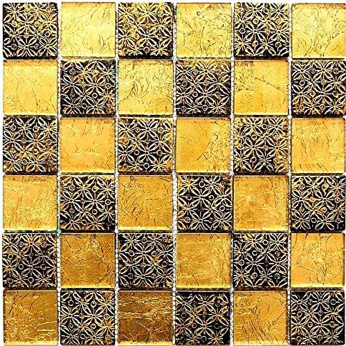 Mosaico in cristallo Bicchiere nero oro 10 fogli