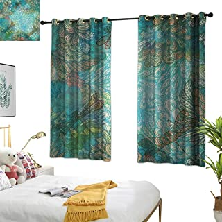 Warm Family Yellow Curtains Dragonfly,Fantasy Flowers Mixed in Various Tones Shabby Chic Feminine Beauty Print, Turquoise Amber 63