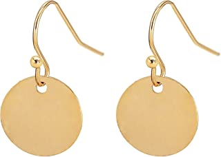 Gold Disc Circle Drop Dangle Earring Lightweight Small Round Statement Minimalist Jewelry Dainty Gift for Women