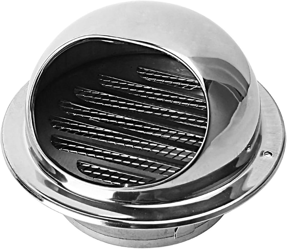 QWEASDF Acero Inoxidable Ventilación de Aire Redondo Cubierta de ventilación Cubierta de ventilación Outlet Hood Bull Torno Extractor Externo Pared para Cocina y baño (Ø60-200mm),120mm
