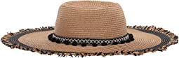 Braided Pom Band Floppy Hat w/ Raw Edge