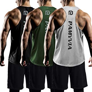 Men's 3 Pack Dry Fit Y-Back Muscle Tank Tops Mesh Sleeveless Gym Bodybuilding Training Athletic Workout Cool Shirts