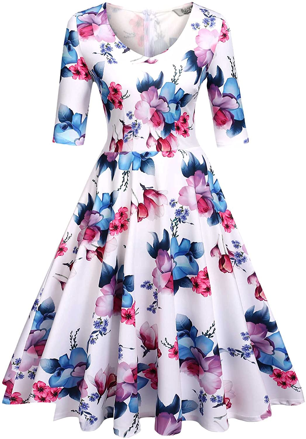 ELESOL Women's Half Cheap mail order shopping Sleeve Swing Dress Line Coc Max 89% OFF Vintage Floral A