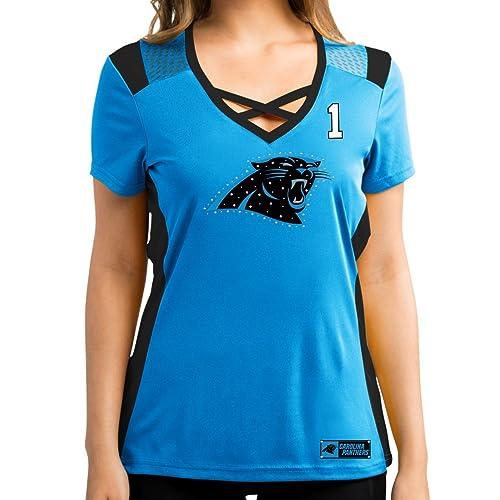 Cam Newton Carolina Panthers Women s Blue Draft Him Jersey Name and Number  V-Neck T 9548e4245
