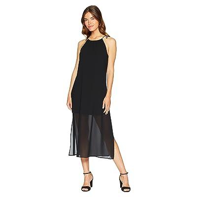 kensie Viscose Jersey Dress with Chiffon Overlay KS6K8225 (Black) Women