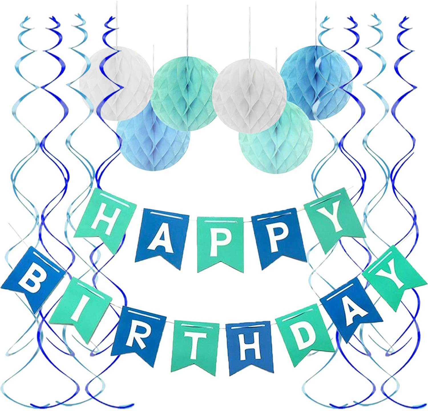Fecedy Be super Large discharge sale welcome Blue Happy Birthday Banner Swirls balls Streame Honeycomb