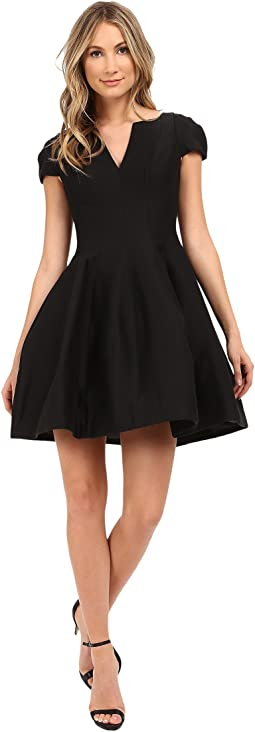 Halston Heritage Short Sleeve Notch Neck Dress with Tulip Skirt
