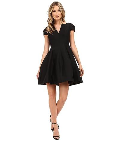 Halston Heritage Short Sleeve Notch Neck Dress with Tulip Skirt (Black) Women