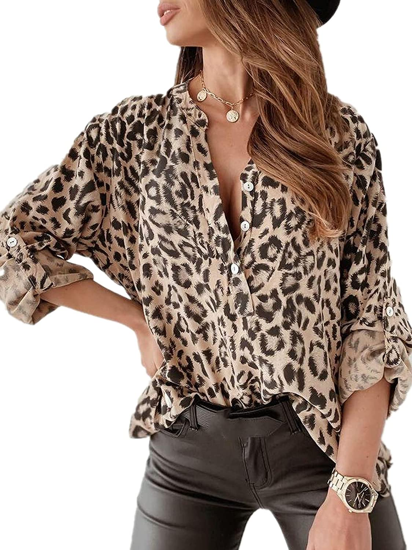 Women Blouse Top Casual Lapel Collar Long Sleeve Button Down Leopard Print Shirt