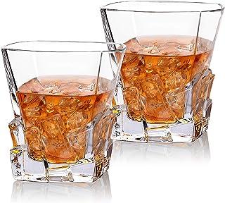 Cooko Iceberg Whisky Gläser, Kristallglas Whiskey karaffe, Wein Zubehör für Whiskey,Cocktail, Bourbon,Saft,300ml 2 er Set 10.6 oz