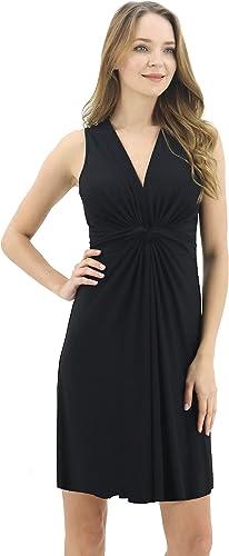 BENANCY Women's V-Neck Sleeveless Knot Front Beach Dresses Midi Dress
