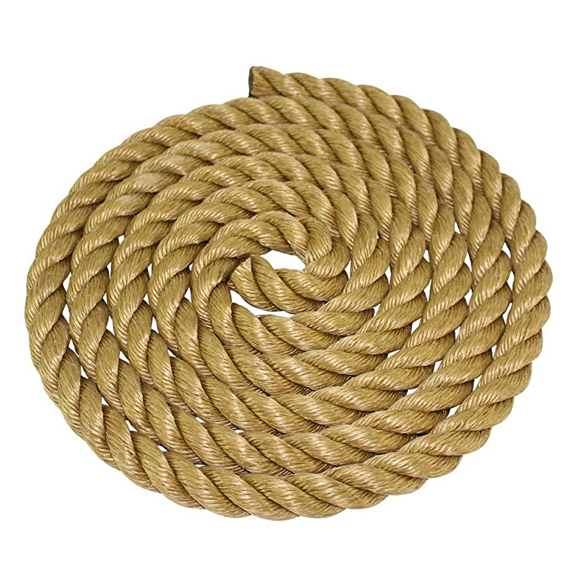 SGT KNOTS ProManila Rope (1/4 inch - 2 inch) UnManila Tan Twisted 3 Strand Polypropylene Cord - Moisture, UV, and Chemical Resistant - Marine, Projects, Tie Downs, Indoor/Outdoor (10 ft - 600 ft)