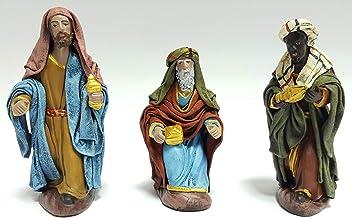 Arte Pesebre Reyes adorando en Barro lienzado, para Figuras de 12 cm