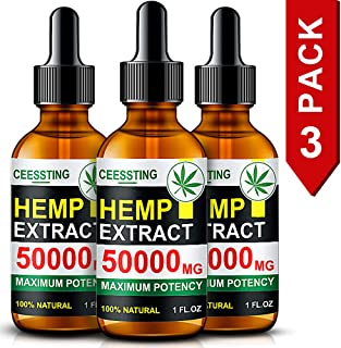 Envisha Hemp Oil for Pain & Stress Relief - 50000mg of Organic Hemp Seed Extract - Rich in Vitamin & Omega - 100% Natural Hemp Drops - Calm Sleep & Mood Support, Good for Skin, Hair & Nails (CS-0C)