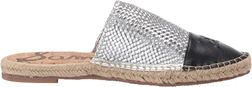Soft Silver/Black Metallic Woven Leather/Nappa Leather