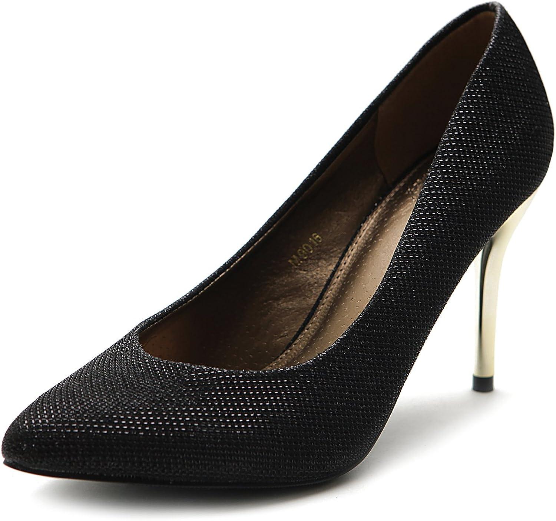 Ollio Women's shoes Metalic High Heel Glitter D'Orsay Pump