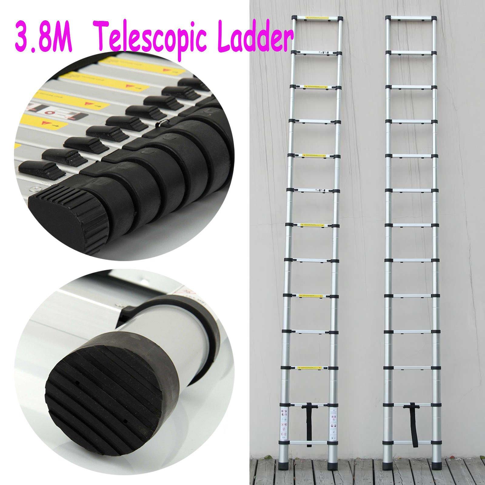 Aluminio 3,8 m escalera telescópica para altillo (multiusos extensión extensible pasos plateado: Amazon.es: Bricolaje y herramientas