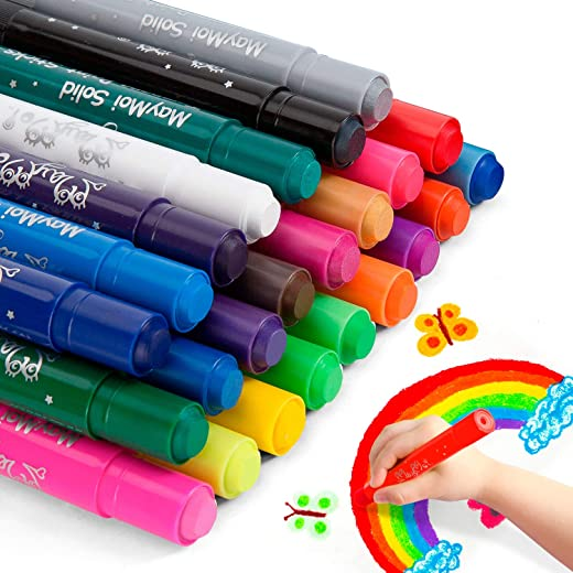 MayMoi Washable Tempera Paint Sticks | Non-Toxic, Quick Drying & No Mess Paint Sticks for Kids (24 Bright Colors, 6g)