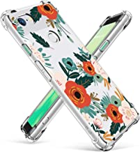 GVIEWIN Designed for Google Pixel 3 Case, Clear Flower Pattern Design Soft & Flexible TPU Slim Fit Shockproof Transparent Floral Cover Case (Will Not fit Pixel 3 XL) (Flowering/Reseda Green)
