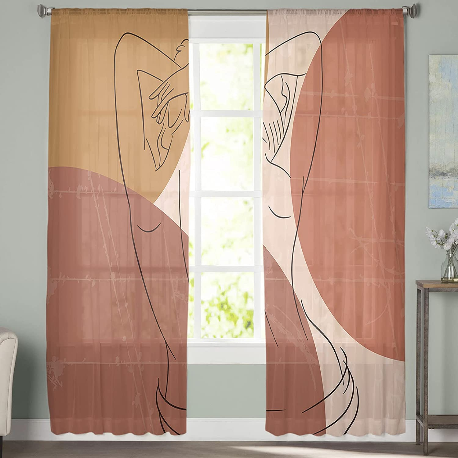 Sales 2 All stores are sold Pieces Window Sheer Curtains T Semi inch 52x84 Abstract
