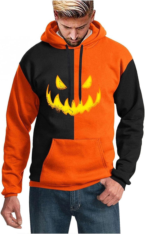 Aayomet Hoodies for Men Halloween Evil Pumpkin Pattern Pullover Hoodies Winter Long Sleeve Kanga Pocket Unisex Shirts