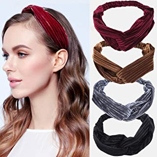 Hairband Cross Hair Band Striped Solid Color Velvet Fabric Elastic Hair Band Wrap Headband Hair for Women Accessories