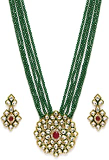 Zaveri Pearls Crystal Shine Multistrand Green Beads Ethnic Kundan Necklace & Earring Set For Women-ZPFK9786