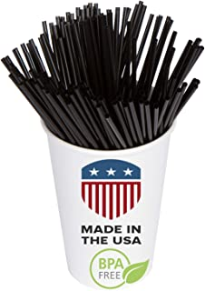 Coffee Stir Sticks, Plastic Stirrers: USA Made, BPA Free: Cocktail Straws, 5.25 Inches, Black, 1000 Count