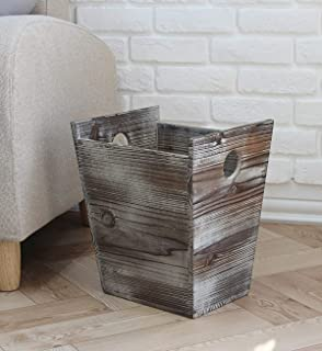 J JACKCUBE DESIGN Rustic Farmhouse Style Wastebasket Bin with Handle Trash Can Decorative Wood for Bathroom, Kitchen, Offi...