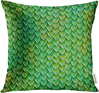 UPOOS Throw Pillow Cover Metallic Dragon Scales Reptile Skin Pattern Fish Shingles Roof Small Triangular Reflecting Plates Decorative Pillow Case Home Decor Square 18x18 Inches Pillowcase