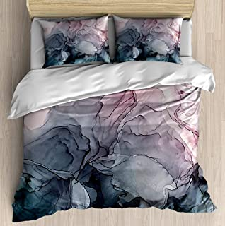 SINOVAL Artistic Color Motion Composition.Grey Flowing Abstract Painting Twin/Twin XL Extra Long Size Brushed Microfiber 1 Duvet Cover 2 Pillow Shams Zipper Closure