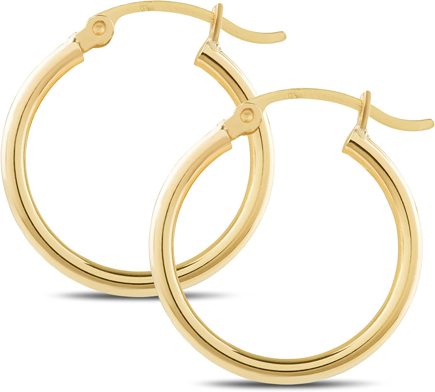 14K Yellow Gold Classic Shiny Polished Round Hoop Womens Earrings, 2mm - 3mm tube, 10mm - 65mm Diameter