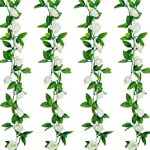 4 Pcs 28Ft Flower Garland White Fake Roses Vines Bedroom Aesthetic Spring Summer Hanging Artificiales para Decoracion for ...