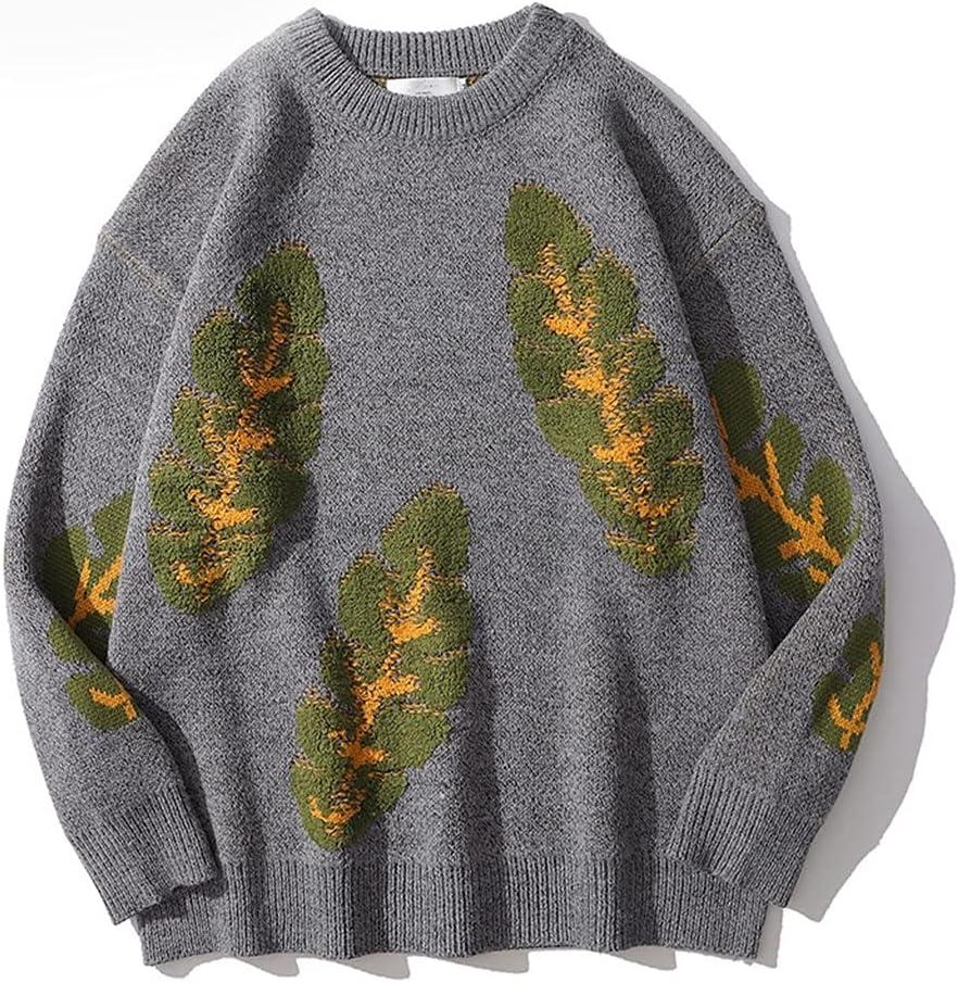 LYYQH 1PCS Fashion Casual Men's Plant Print Retro Sweater Ladies Pullover Fashion Sweater (Color : B, Size : M Code)