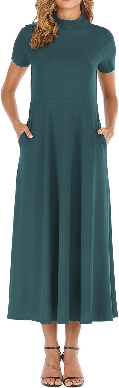 Haola Women's Short Sleeve Loose Plain Dedication Turtl Dresses Maxi Casual Over item handling ☆