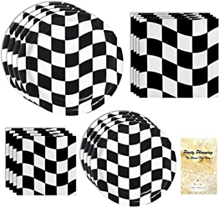 Race Car Party Supplies, Black and White Checkered Design, 16 Guests, 65 Pieces, Disposable Paper Dinnerware, Plate and Napkin Set