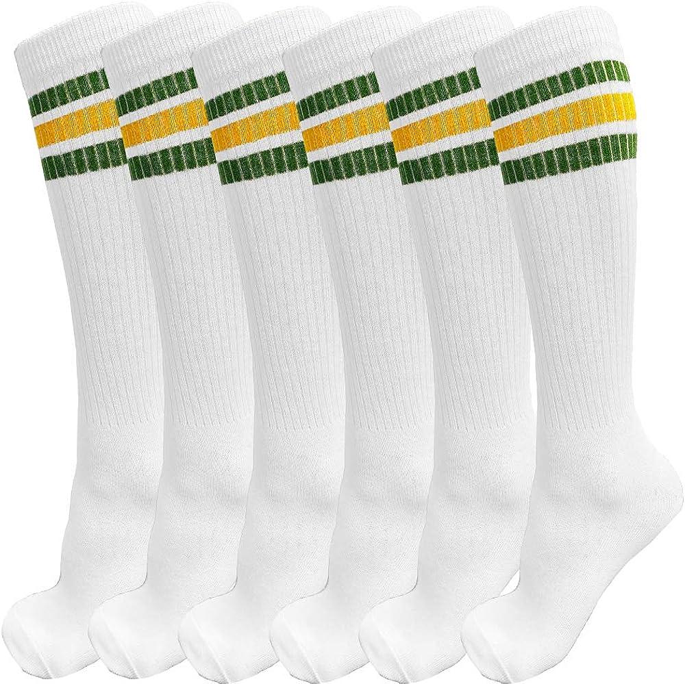 3 Pairs of Knee High Boys or Girls Triple Stripe Team Tube Socks for Soccer, Basketball, baseball and Everyday Wear