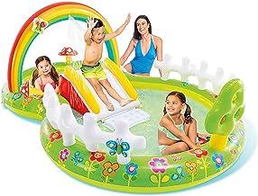 N\C ZSCC Piscinas sobre el Suelo en Forma de Ocho, Piscina de salón Familiar con Centro de natación con tobogán/barandilla, Piscina para niños Plegable y movible, 114x71x39in