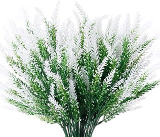 JEMONG 8 Bundles Artificial Lavender Flowers Outdoor UV Resistant Fake Flowers No Fade Faux Plastic Plants Garden Porch Wi...