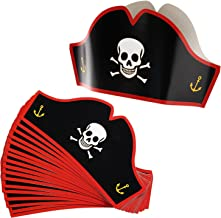 Juvale Sombreros de cartón pirata – Sombreros de fiesta ajustables para Halloween Pretend Play Party Favors – 24 unidades