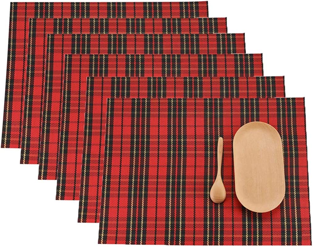 LivebyCare Set Of 6 Red Check Pattern Dining Table Non Slip Placemats Vinyl Textilene Stain Resistant Kitchen Table Mats Heat Resistant Place Mats Durable 11 8X16 In