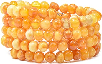 Bracelet for Women - Made on Memory Wire - Handmade Natural Amber Beads Jewelry for Adult
