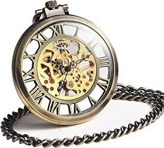 Steampunk Mechanical Skeleton Big Size Hand Winding Pocket Watch Open Face Fob for Men