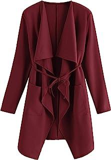 8c564f457f4 Romwe Women's Raw Cut Hem Waterfall Collar Long Sleeve Wrap Trench Pea Coat  Cardigan