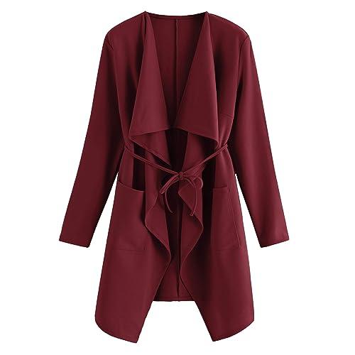 1b45fd48b62 Romwe Women's Raw Cut Hem Waterfall Collar Long Sleeve Wrap Trench Pea Coat  Cardigan