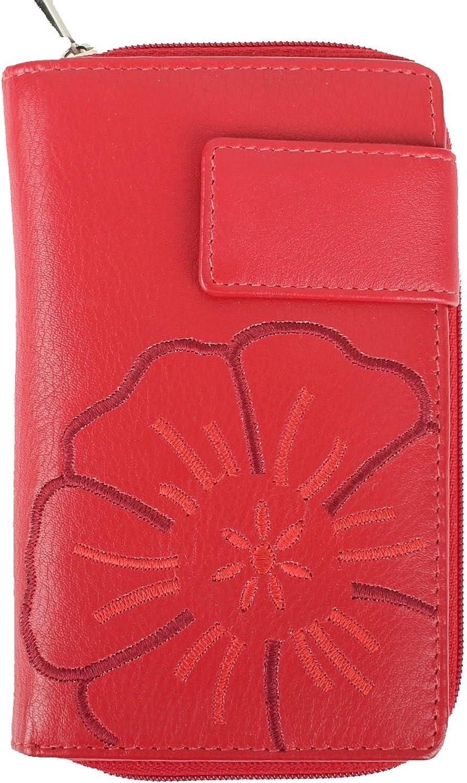 cdd9ed6b43e8a7 Leder Geldbörse für Damen - Münzfach mit Reißverschluss - mit Blaumenmotiv  gestickt ...
