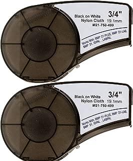 M21-750-499 Cartridge with Ribbon High Adhesion Nylon Label Tape Black on White Nylon Cloth Film Compatible with BMP21-PLUS/ID PAL BMP21-LAB/LABPAL Portable Label Printer 16' Length 0.75