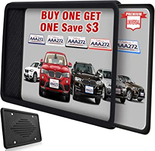 Intermerge License Plate Frame, Universal American Auto License Plate Holder, Rust-Proof Rattle-Proof Weather-Proof with 3 Drainage Holes Black Silicone License Plate Frame Cover (Black-1Pack)