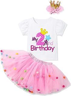 ملابس للفتيات الصغيرات من MIGU مطبوع عليه حرف قميص قصير الأكمام + تنورة رومبير توتو + تاج 3 قطع ملابس عيد الميلاد